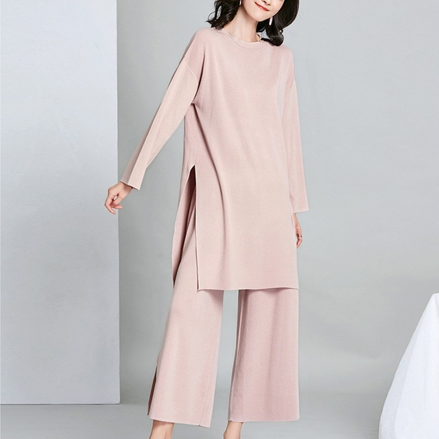 New Brief Elegant Two-piece Set Women's Loose O-neck Knitted Pullover Side Slit Long Sleeve Sweater Dresses&pants High Quality 2