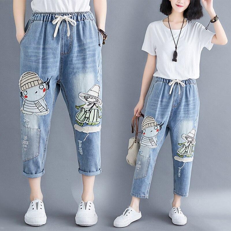 Women Fashion Korea Style Cartoon Print Girl Patchwork Vintage Bleached Elastic Waist Ankle Length Jeans Sweet Casual Harem Pant
