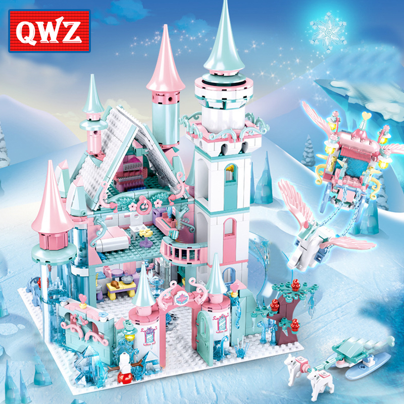 QWZ 1314pcs Snow World Series Magical Ice Castle Set Girls Building Blocks Bricks Toys Girl Friend For Christmas Gifts