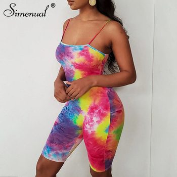 Simenual Tie Dye Fitness Biker Shorts Playsuits Women Strap Fashion Slim Bodycon Rompers 2020 Summer Sexy Party Club Playsuit casual tie strap playsuits in pink