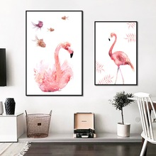 Get more info on the Nordic Minimalist Style Pink Flamingo Poster Print Animal Canvas Painting Picture Home Wall Art Aisle Modern Painting Decoration