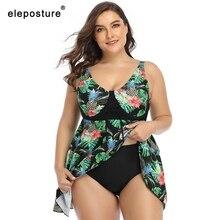 2020 nowy seksowny nadruk Plus rozmiar stroje kąpielowe kobiety Tankini stroje kąpielowe wysokiej talii strój kąpielowy duże rozmiary kostiumy kąpielowe spódnica strój kąpielowy