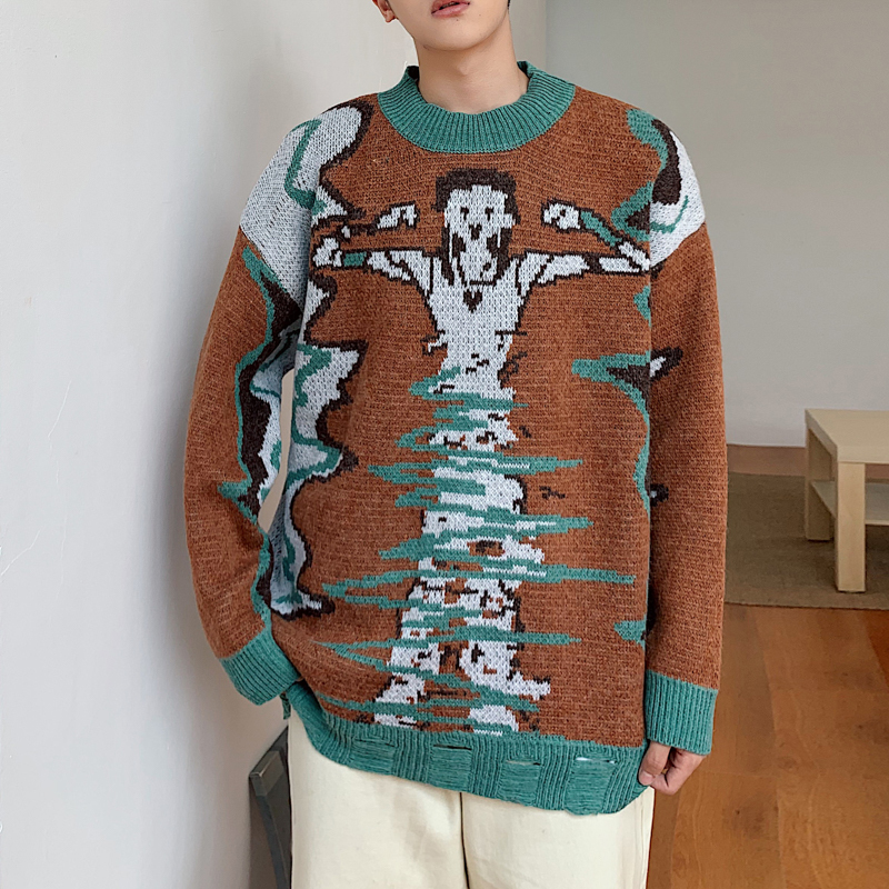 2019 Winter Men's Cartoon In Warm Coats Cashmere Sweaters Casual Brand Male Clothes Pullover Round Neck Woolen Knitting M-XL