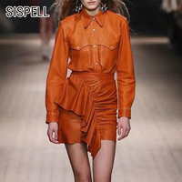 SISPELL PU Leather Two Piece Sets For Women Lapel Collar Jacket High Waist Ruffle Irregular Skirts Female Suits 2019 Fashion New