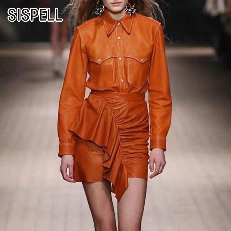 SISPELL PU cuir deux pièces ensembles pour femmes revers col veste taille haute à volants jupes irrégulières femmes costumes 2019 mode nouveau