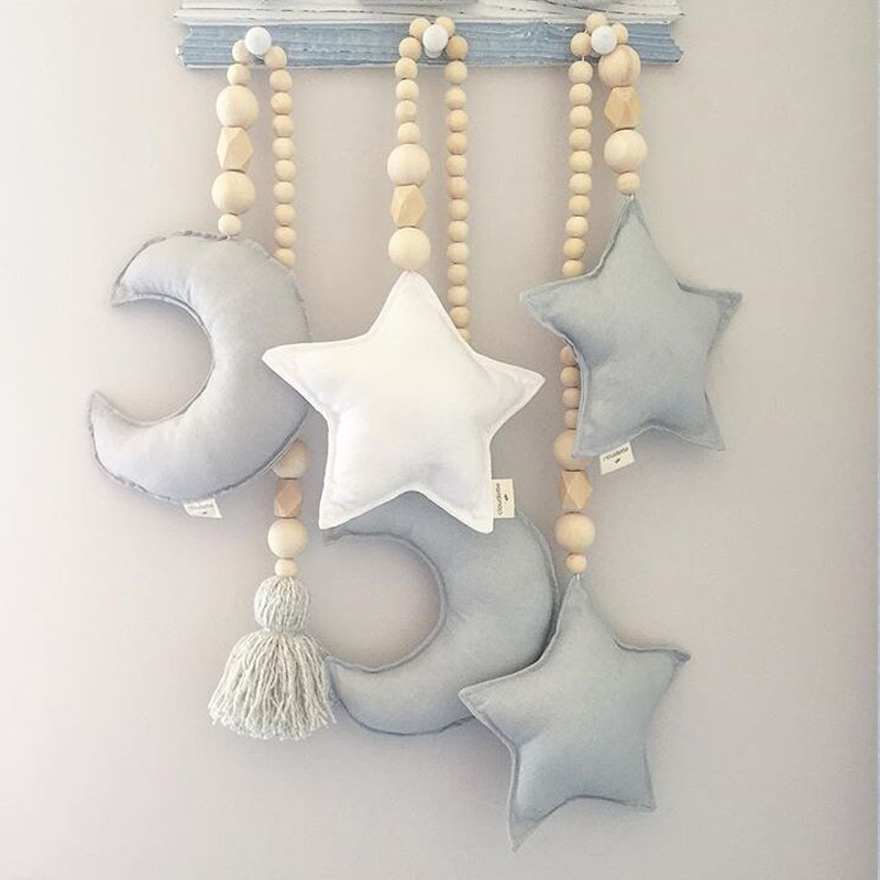 QWZ Baby Rattle Stroller Decoration Pillow Nordic Moon Stars Wooden Beads Strings Toys Kids Bed Room Crib Decor Ornaments Props