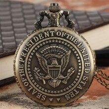 Бронзовый американский президент печать кварцевые карманные часы Белый дом строительство дизайн задняя крышка ожерелье кулон часы Прохладный сувенир подарок