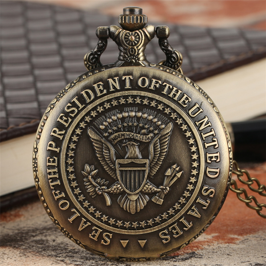 Bronze U.S. President Seal Quartz Pocket Watch White House Building Design Back Cover Necklace Pendant Clock Cool Souvenir Gift