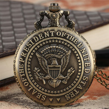 Bronze U.S. President Seal Quartz Pocket Watch White House Building Design Back Cover Necklace Pendant Clock Cool Souvenir Gift
