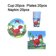 20 People Kids Birthday Party Red Dinosaur Theme Sets Plates Cups Gift Bag Baby Shower Supplies Disposable Tableware Set