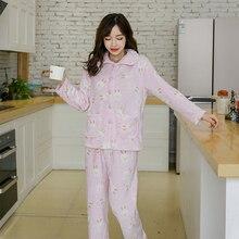 New Autumn And Winter Pajamas Ladies Adult Cute Cartoon Animal Rabbit Pattern Warm Comfortable Home Service Suit