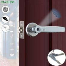 RAYKUBE Biometric Fingerprint Lock Smart 13.56Mhz IC Card Knob Deadbolt Keyless Electronic Door Lock For Home Office R S158