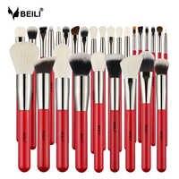 BEILI rojo 28 Uds juego de brochas de maquillaje profesional para maquillaje, maquillaje, sombra de ojos, maquillaje