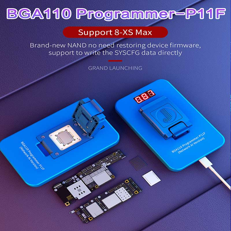 <font><b>JC</b></font> P11 BGA110 PCIE Programmer for iPhone XSMAX XS XR X 8P 8 <font><b>NAND</b></font> Flash for SYSCFG Data Modification & Write Repair image