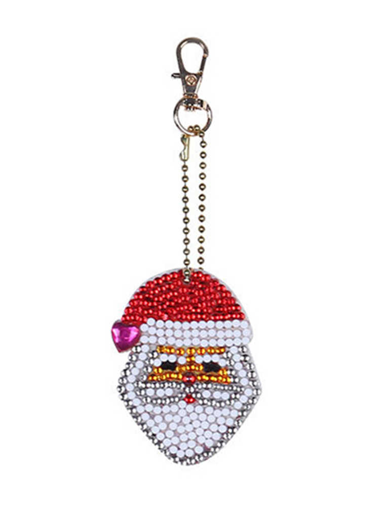 Новогодний подарок 5D образный бриллиантовый рисунок Рождество старый человек брелок в виде ели Дети diy кулон