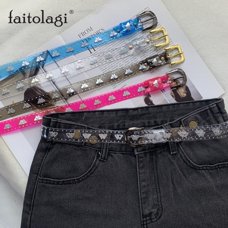 Transparent Laser Butterfly Women Belt PVC Clear Jelly Ladies Belt Jeans Dress Waist Strap Sweet Candy Color Girls Wasitband