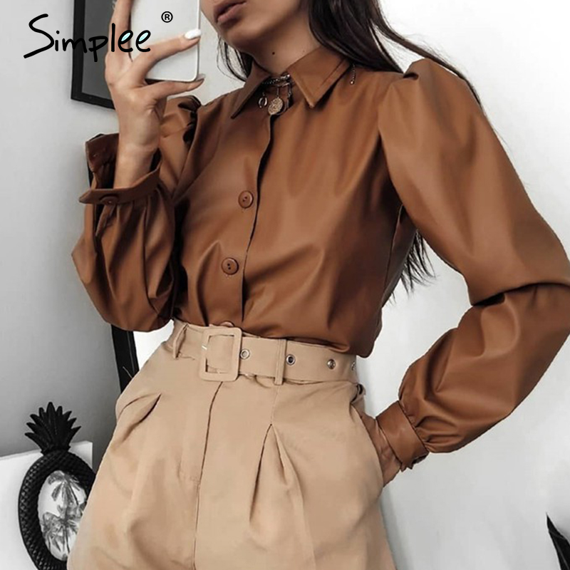 Simplee Vintage Puff Sleeve Women Blouse Shirt Casual Turn-down Collar Solid Blouse Shirt Office Lady Button Pu Leather Blouse