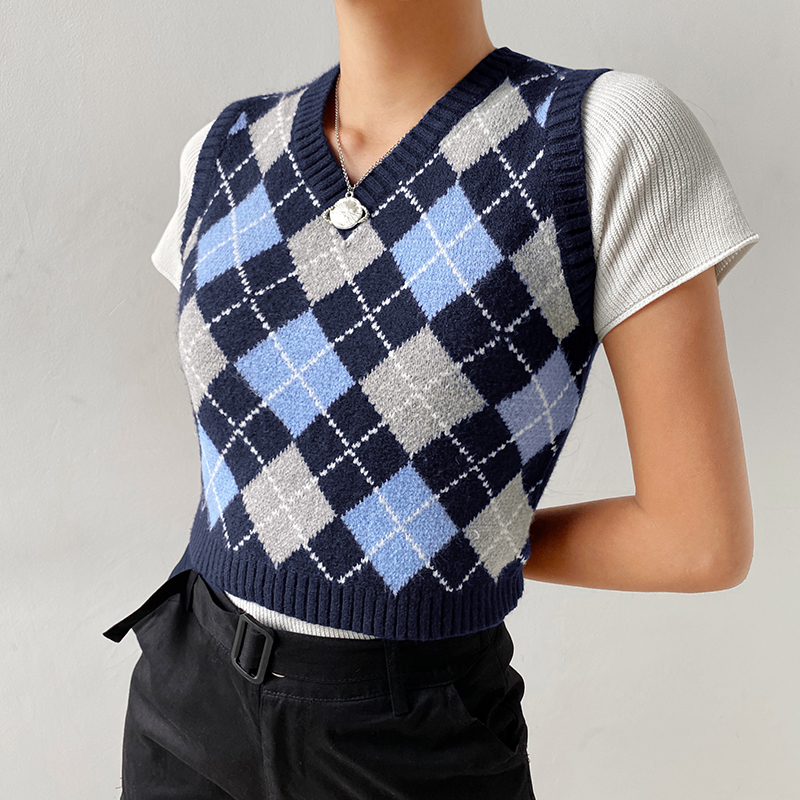 Sweetown Argyle Plaid Knitted Tank Top Female Knitwear Preppy Style Y2K Clothes V Neck Casual Crop Sweater Vest 90s Streetwear 2