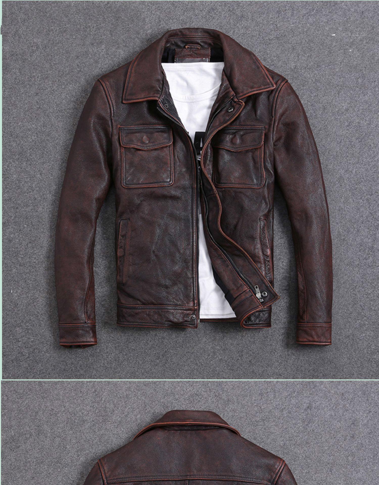 H99cf1f98d31640ffb573e6f7816e4a177 AYUNSUE Vintage Genuine Cow Leather Jacket Men Plus Size Cowhide Leather Coat Slim Short Jacket Veste Cuir Homme L-Z-14 YY1366