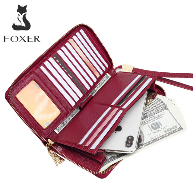 FOXER Women Cow Leather Wallet Female Long Clutch Bags with Wristlet Lady Card Holder Wallets Coin Purse Cellphone Bag 256001F