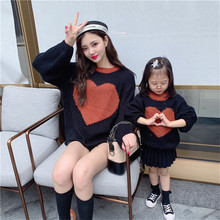 Matching Mother Daughter Sweater Casual Mom and Me Heart Design Hoodies Autumn Fashion Mum Outerwear E0332