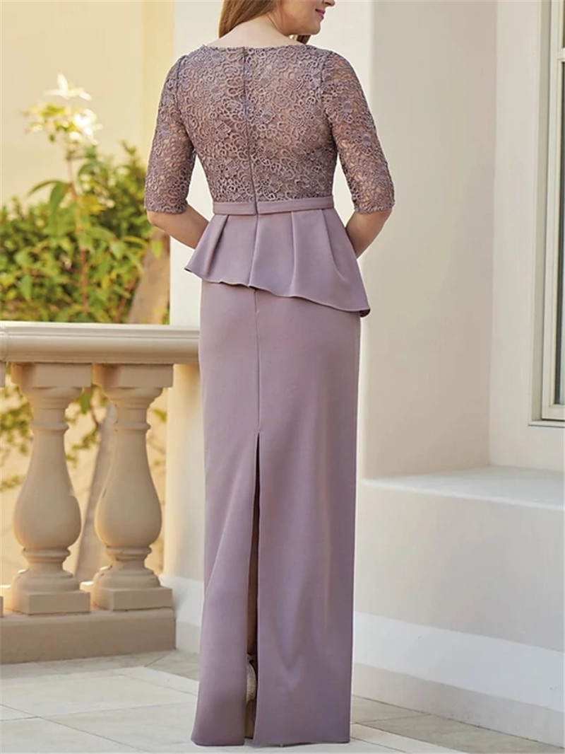 Ultimate SaleDresses Mother-Of-The-Bride Modest Lace Satin Half with Ruffles Vestido-De-Madrinha Back-Slit