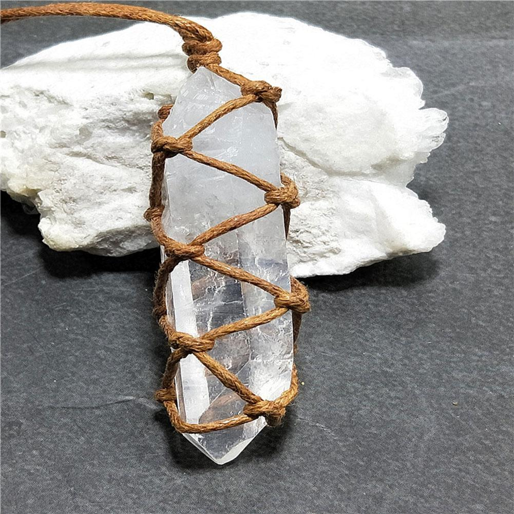 Natural White Amethyst Quartz Crystal Column Pendant Healing Stone Reiki Hangings Craft With Weave Rope