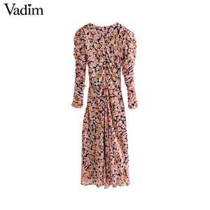 Image 2 - Vadim kadınlar zarif çiçek şifon maxi elbise ruffles O boyun uzun kollu geri fermuar ince fit kadın ayak bileği uzunluk elbise QC823
