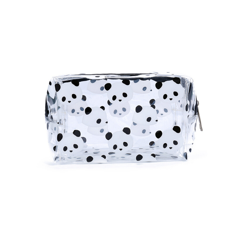 2019 Newest Creative Panda PVC Makeup Bag Waterproof Cute Clear Transparent Travel Makeup Cosmetic Toiletry Zipper Bag Pouch