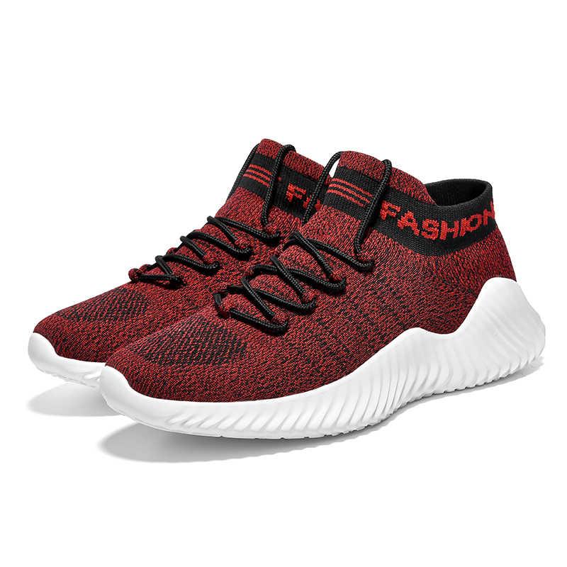 Yeni Erkek Rahat moda rahat ayakkabılar Örgü Nefes Hafif İlkbahar Yaz Sneakers Beyaz Düz kayma Eğitmenler Erkek Ayakkabı