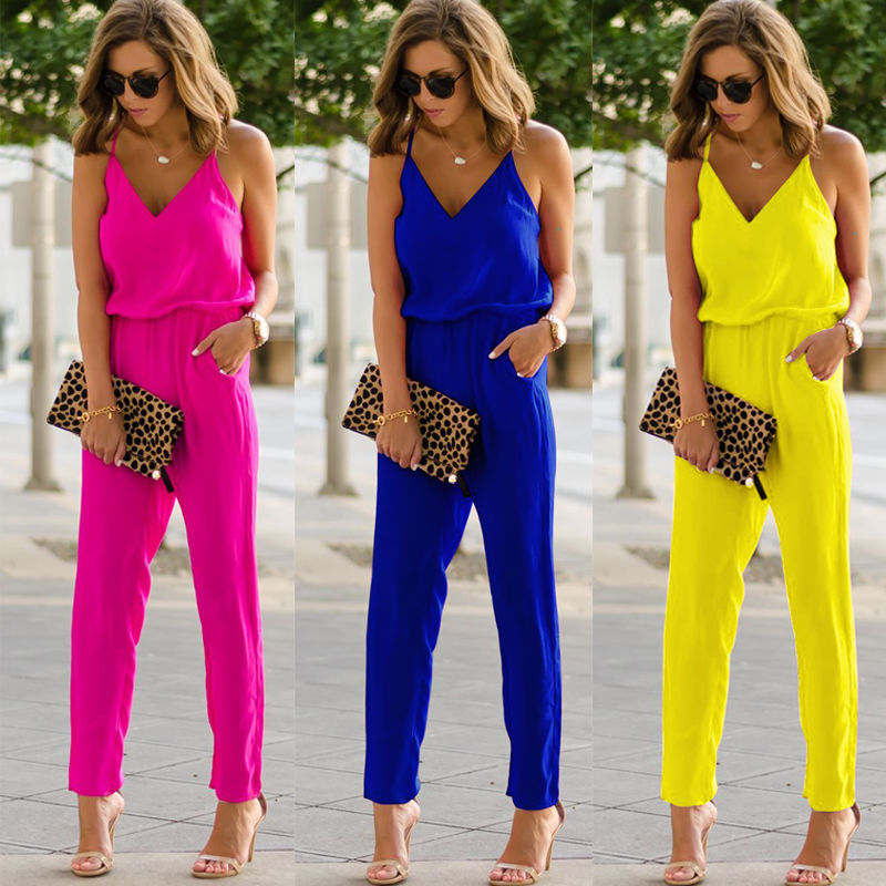 New Fashion Ladies Jumpsuit Deep V-Neck Summer Solid Color Casual Playsuit Womens Sexy Strap Slim Sleeveless Bodycon Playsuit