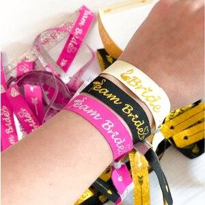 Image 1 - Braut Zu Werden Bachelorette Party Brautjungfer Armband Team Braut Tribe Hand Band Hen Nacht Hochzeit Supplie decor IdentificationMark