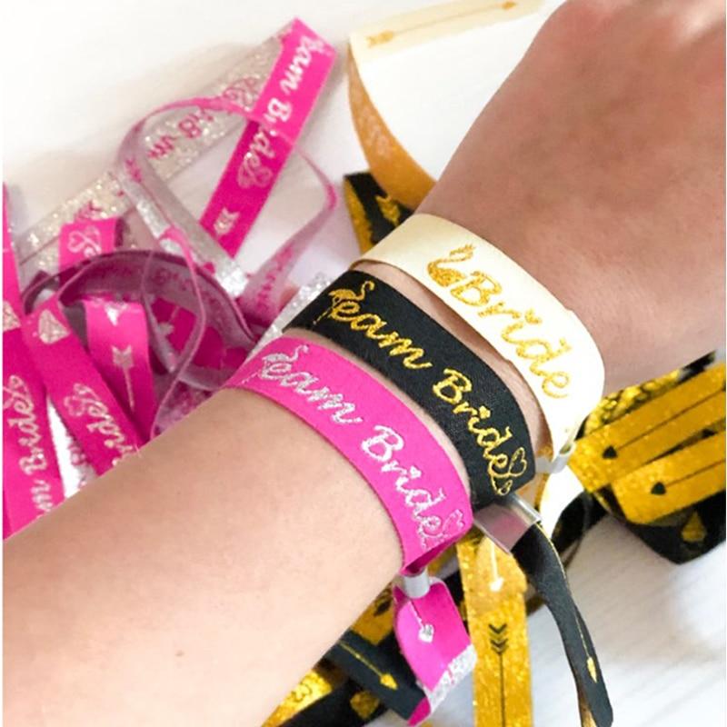 Bride To Be Bachelorette Party Bridesmaid Bracelet Team Bride Tribe Hand Band Hen Night Wedding Supplie Decor IdentificationMark