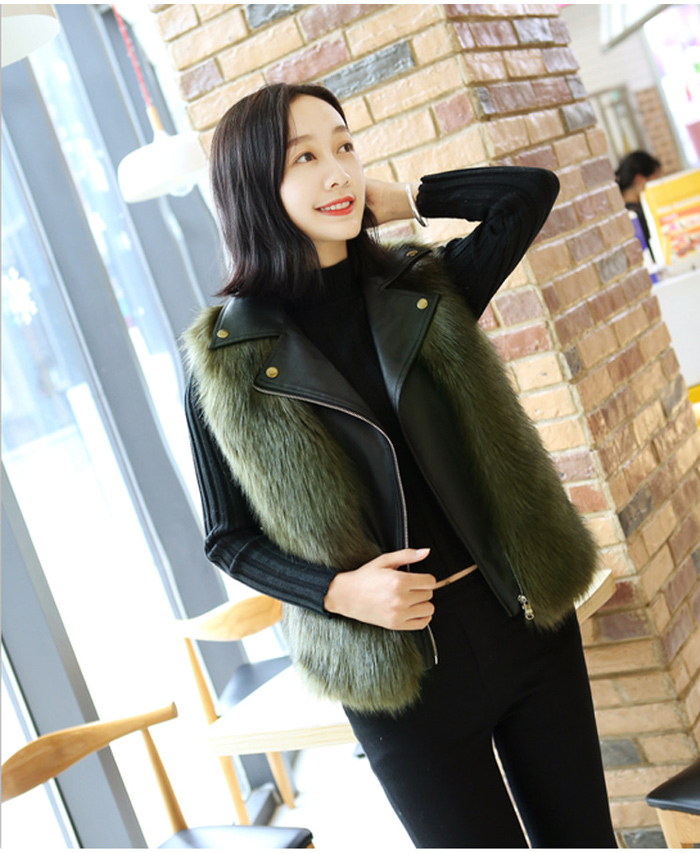 Autumn And Winter Fox Fur Sleeveless Vest Faux Fur PU Leather Stitching Vest Female 2019 Short Fashion Lapel Imitation 31