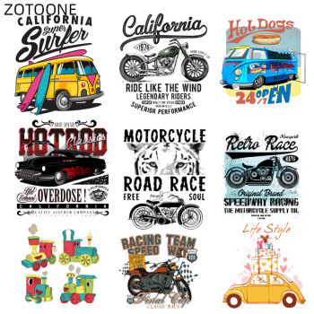 ZOTOONE Iron on Car Patches Bus Motorcycle Sticker Transfers for Clothing Diy Patch for Kids Heat Transfer Accessory Appliques G image