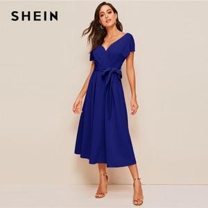 Image 4 - SHEIN Zipper Back Surplice Neck Belted Flare Dress Elegant Women Summer Dress Solid Deep V Neck High Waist Dress