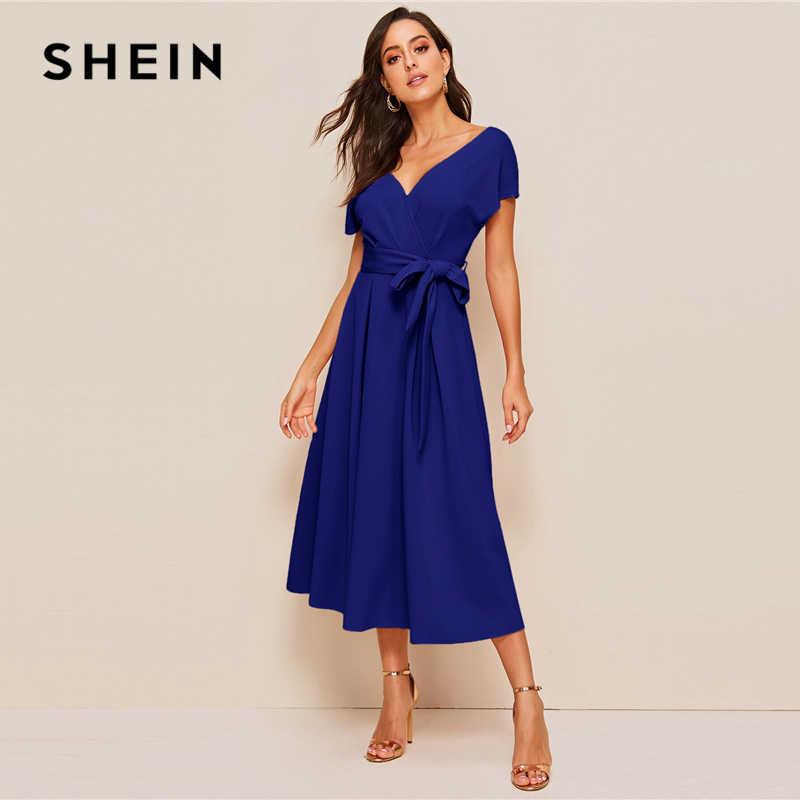 SHEIN застежкой-молнией на спине верхняя часть шеи с поясом, платье с пышной юбкой элегантная женская летняя обувь с цветочным рисунком топ с глубоким V-образным вырезом платье с высокой талией
