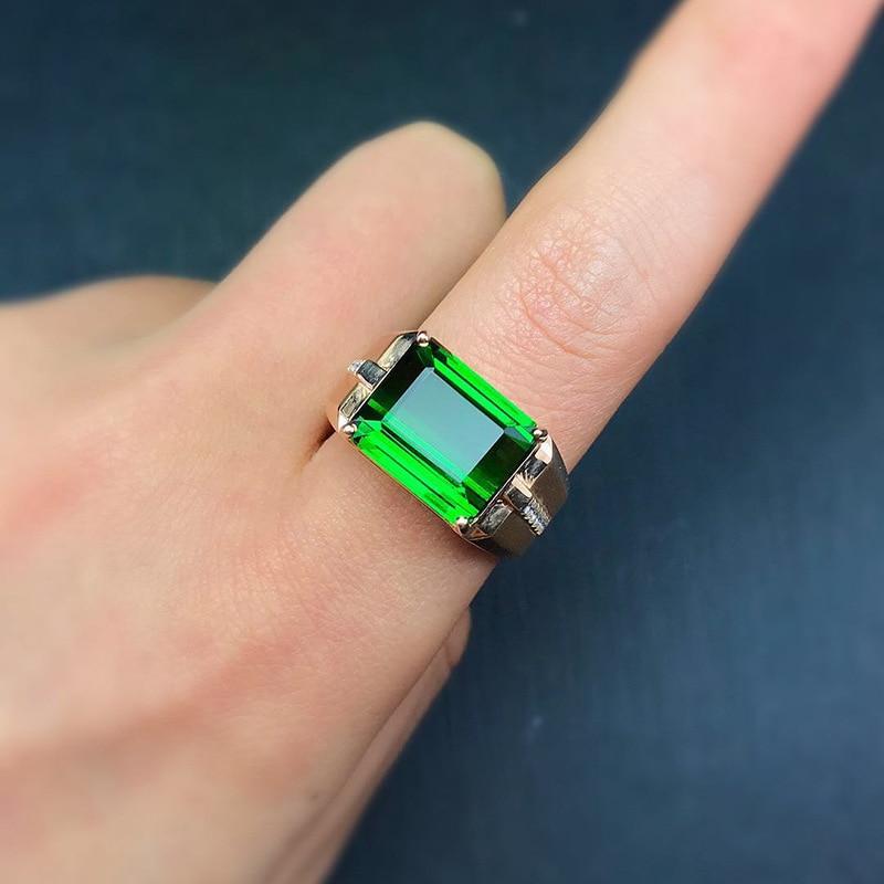 14K Gold Pure Emerald Gemstone Rings for Women Fine Bizuteria Anillos De Wedding Pure Green Emerald Gemstone Ring Jewelry Female