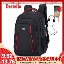 Waterproof Solid Large Backpack Men Laptop Bags Black Backpa