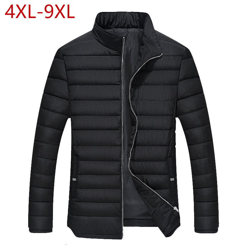 Winter Jacket Men Warm Cotton Padded Parkas Solid Stand Collar Thick Outwear Casual Male Coats Plus Size 4XL-9XL Clothes For Men