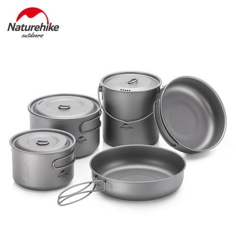 naturehike pote de titanio ao ar livre frigideira ultraleve portatil acampamento panelas caminhadas piquenique utensilios