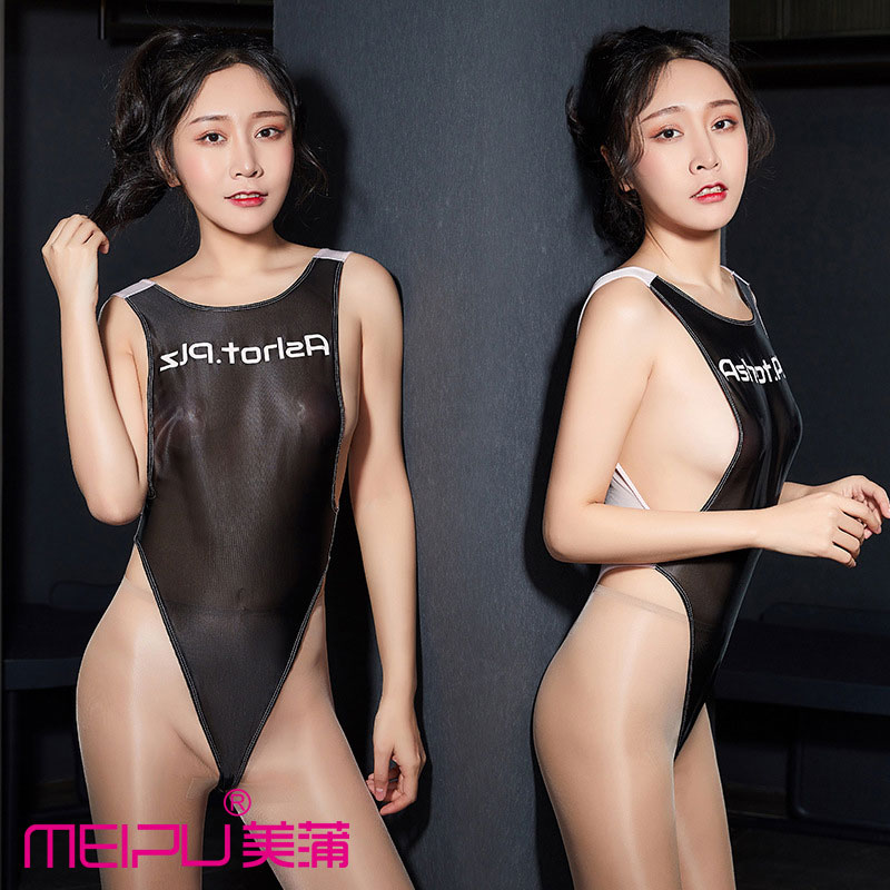 Sexy Women Gloosy Shiny HIgh Cut Bodysuit Patchwork Backless One Piece Thong Swimsuit Monokini T Crotch Sexy Tight F14