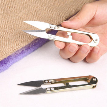 1pcs/wholesale High Quality High Carbon Steel Shear Fish Line Scissors 15g/10.5cm  U-shaped Fishing Line Scissors Sewing Wholesa