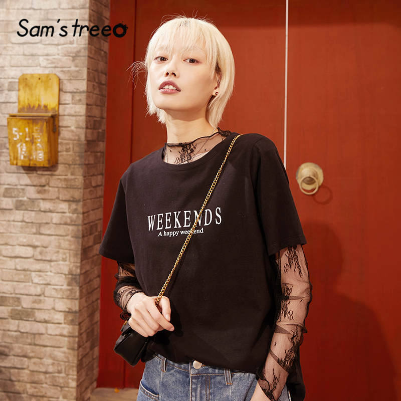 SAM'S TREE Black Floral Lace Elegant Blouse Women 2020 Spring New Vintage Mesh Long Sleeve Office Ladies Thin Basic Daily Tops
