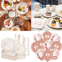 Rose Gold Theme Birthday Party Decoration Disposable Paper Plates Napkins Cup Dinnerware Set Baby Shower Balloons Party Supplies