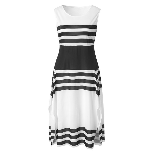 2020 Hot Selling Summer Black White Stripe Sleeveless Casual Dress Women Round Neck  Elegant Patchwork Party Dresses Sexy #Zer