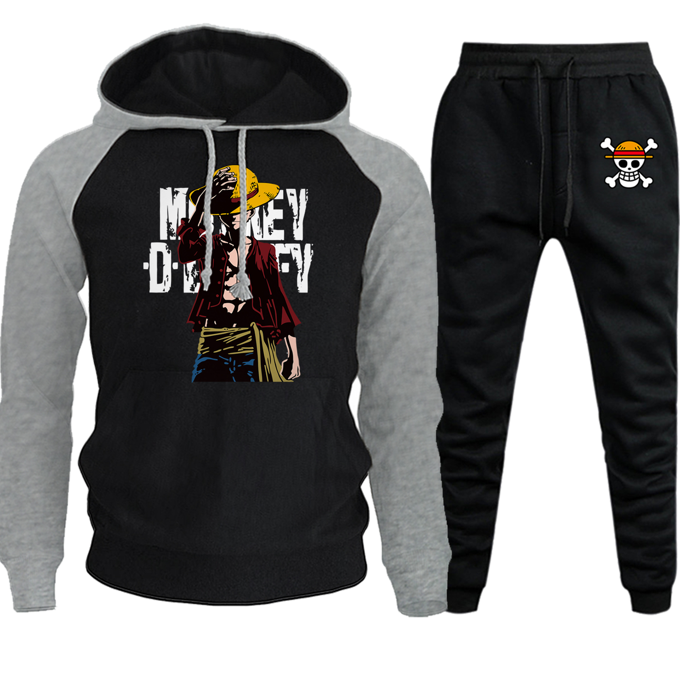One Piece Streetwear Mens Hooded Raglan Autumn Winter2019 New Caartoon Casual Pullover Suit Fleece Hoodie+Pants 2 Piece Set