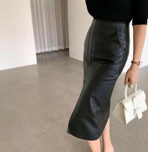 Image 3 - Jupe crayon en cuir PU pour femmes de bureau, Double poches, emballage taille haute, hanches mi longues, nouveauté 2020