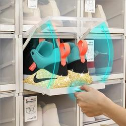 3 Pcs/set Baru Push-Pull Kotak Sepatu Rak Plastik Lipat Organizer Sepatu Stackable Laci Penyimpanan Kotak Sepatu untuk Olahraga rak Sepatu