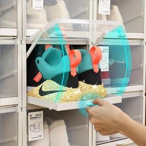 3pcs/Set New Push-pull Shoes Box Rack Plastic foldable Shoe Organizer Stackable Storage Drawer Boxes Shoes for Sports Shoes rack